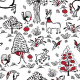 Pattern with Russian folklore. Russian fairy folklore. Seamless pattern in the old Slavian style stock illustration