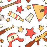 Pattern in russian style with balalaika, earflap, Kalashnikov and vodka decorated with stars royalty free illustration