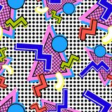 Pattern 80s composition. Pattern from 80s composition of geometric shapes on dots with bright colors vector illustration