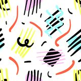 Pattern 80s style. Seamless pattern in the style of Memphis with black, colored stripes, colored geometrical figures on a white background in the style of 80`s vector illustration