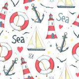 Pattern sailboat, lifebuoy, anchor, lighthouse Stock Images