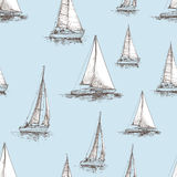 Pattern of the sailboats. Vector pattern of the sailing yachts in the sea Royalty Free Stock Photography