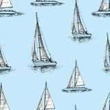 Pattern of the sailing yachts in the sea. Seamless background of the sailing boats in a travel Stock Images