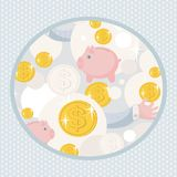 Pattern with saving pigs and money. Vector background Royalty Free Stock Photos