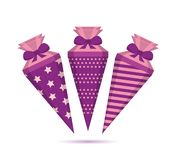 Pattern school cone set in purple colors royalty free illustration