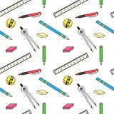 Pattern with school stationery Stock Photography