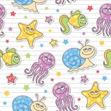 Pattern of sea creatures. Seamless pattern of cartoon sea creatures, vector stickers Stock Photo