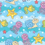 Pattern sea creatures. Seamless pattern of cartoon sea creatures Stock Photos