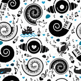 Pattern sea elements and music. Stock Photography