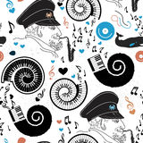 Pattern sea, sea captain and music. Stock Photo