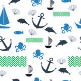 Pattern sea ship  anchor fish background. Pattern sea ship wallpaper anchor fish background Royalty Free Stock Images