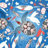 Pattern with sea turtles and whales Stock Images