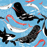 Pattern of sea whales and fish Stock Photography