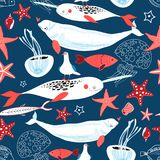 Pattern of sea whales and fish. Graphic pattern sea whales and fish on a blue background Royalty Free Stock Images