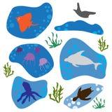 Pattern seafood. Marine fish under the sea Stock Illustration