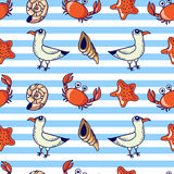 pattern with seagull, crab and shell Stock Images