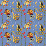 Pattern with seahorses,  jellyfishes, starfishes and stingrays Stock Image