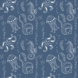 Pattern with seahorses,  jellyfishes, starfishes and stingrays Stock Photography