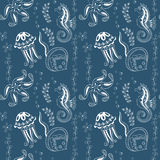 Pattern with seahorses,  jellyfishes, starfishes and stingrays Stock Photo