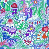 Pattern seamless abstract doodle from set of figures of different colors. Pattern seamless abstract doodle of many shapes of different colors, flowers, leaves Stock Photo