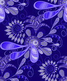 Pattern, seamless, abstract, floral in blue tones. For fabric, wallpaper. Royalty Free Stock Images