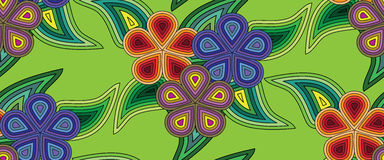 Pattern seamless, abstract, floral on a green background. Vector of EPS10 Stock Images