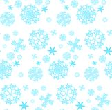 The pattern is seamless from beautiful, Christmas, carved, new-year, festive unique blue, turquoise and white snowflakes of differ stock illustration