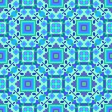 The pattern is seamless in blue tones, geometric ornament for carpets, tiles, paper, plaid and oilcloth. Stock Photography