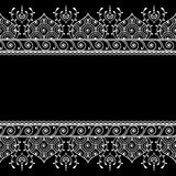 Pattern seamless border element in Indian henna mehndi style for tattoo or card isolated on black background. Royalty Free Stock Image
