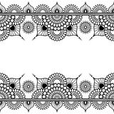 Pattern seamless border elements in Indian mehndi style for tattoo or card  on white background. Stock Photos