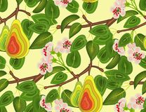 Pattern seamless branch of a pear tree with flowers and fruits on a yellow background.For cloth, wallpaper, oilcloths. Royalty Free Stock Image