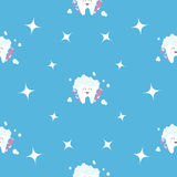 Pattern Seamless Brush Paste Tooth health. Sparkle star. Cute funny cartoon smiling character. Oral dental hygiene. Children teeth Stock Image