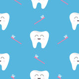 Pattern Seamless Brush Tooth health. Cute funny cartoon smiling character. Oral dental hygiene. Children teeth care. Baby texture. Royalty Free Stock Photography