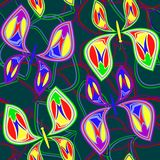 A pattern of seamless butterflies and outlines of different colors on a green background.For paper, packaging, fabric. Royalty Free Stock Photo