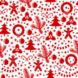 Pattern seamless of Christmas baubles and wreath. Vector illustrations of pattern seamless Christmas baubles and wreath Stock Image