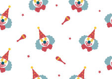 Pattern seamless of Clown face on white backgrouds,Vector illustrations Stock Photo