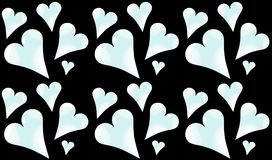 Pattern seamless from cold, light blue, shiny hearts to the day of St. Valentine on a black background. Vector illustration Royalty Free Stock Photos