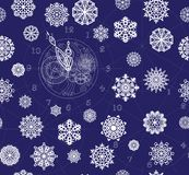 Pattern seamless contour clock with mechanism and snowflakes on a dark blue background Royalty Free Stock Photo