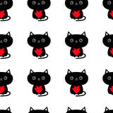 Pattern Seamless. Cute black cat holding red heart. Funny cartoon animal character. Kitty kitten. Baby pet collection. Wrapping pa Stock Photo