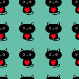 Pattern Seamless. Cute black cat holding red heart. Funny cartoon animal character. Kitty kitten. Baby pet collection. Wrapping pa Royalty Free Stock Photo