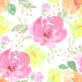 Pattern, seamless drawing a bouquet of flowers on a white background royalty free illustration