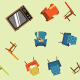 Pattern seamless element of furniture, equipment and pets. Royalty Free Stock Photos