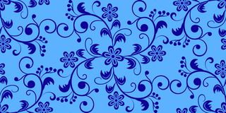 Pattern, seamless, floral from flowers, leaves and curls on a blue background. Vector illustration royalty free illustration