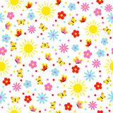 Pattern,seamless with flower,butterfly and sun. On white background,illustration,vector Stock Photo