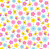 Pattern,seamless with flower and butterfly. On white background,illustration,vector Stock Image