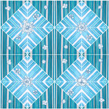 Pattern seamless flower tone blue color paint on wood design Stock Images