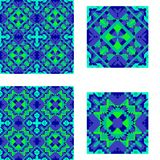 Pattern seamless geometric symmetrical blue and green for tile, plaid, carpet, bedspread. Royalty Free Stock Photography