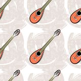 Pattern seamless Guitar-04. Seamless guitar pattern on abstract gray background. Stringed instrument. Linear images of a cassette, a mediator, a vinyl, a star Royalty Free Stock Photography