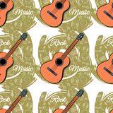 Pattern seamless Guitar-03. Seamless guitar pattern on abstract green background. Stringed instrument. Linear images of a cassette, a mediator, a vinyl, a star Stock Image