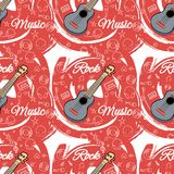 Pattern seamless Guitar-02. Seamless guitar pattern on abstract red background. Stringed instrument. Linear images of a cassette, a mediator, a vinyl, a star Royalty Free Stock Image